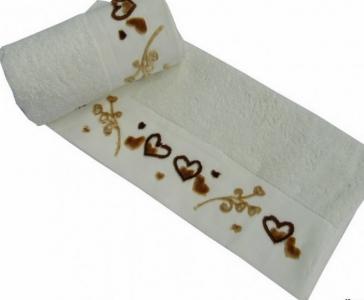 Полотенце с вышивкой ТМ Altinbasak Delux Romantic кремовое 50х90