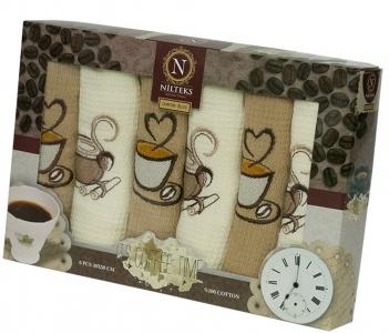 Набор полотенец кухонных ТМ Nilteks Coffee Time 2 6шт 30х50см