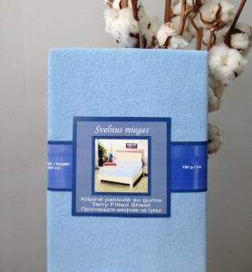 Простынь на резинке махровая ТМ Nostra голубого цвета