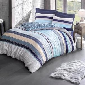 Постельное белье ТМ Luoca Patisca Ranforce Aras голубое евро-размер