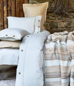 Постельное белье с пледом ТМ Karaca Home Woodley Mavi евро-размер