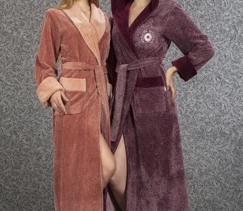 Халат велюровый ТМ Nusa фиолетовый женский (NS 3920)