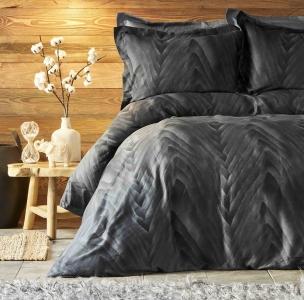 Постельное белье ТМ Karaca Home сатин Afya siyah 2019-1 черный евро-размер
