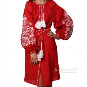 Платье Дерево жизни 1525 красный лен с белой вышивкой