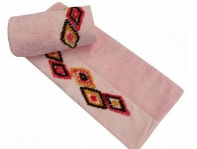 Полотенце с вышивкой ТМ Altinbasak Delux Tendora розовое