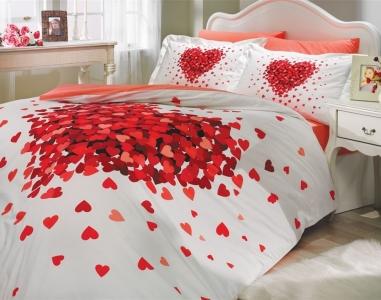 Постельное белье ТМ Hobby Poplin Juana красное евро-размер