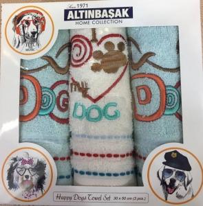 Набор полотенец кухонных с вышивкой ТМ Altinbasak 3 шт Dog 30x50