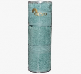 Набор полотенец из 2 шт в тубе TM Arya однотонные Miranda Soft аква