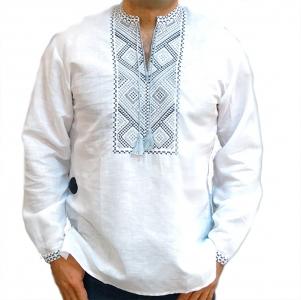 Вышиванка мужская белая с серой вышивкой 2013.1