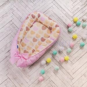 Кокон-позиционер ТМ Маленькая Соня Baby Design Ванильные сердечки