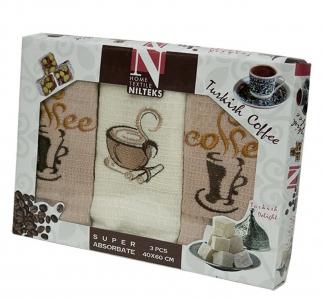 Набор полотенец кухонных ТМ Nilteks Coffee Time 3 3шт 50х70см