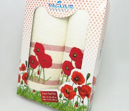 Набор полотенец из хлопка ТМ Yagmur Маки молочный