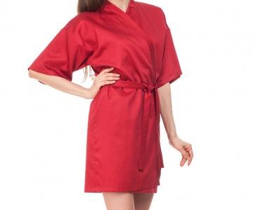 Халат из сатина ТМ Nostra женский короткий 00-0023 Wine Red Active