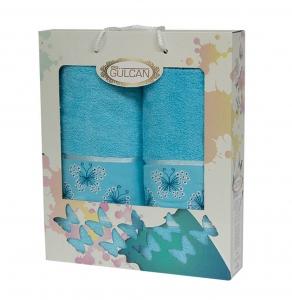 Набор полотенец из хлопка ТМ Gulcan 2 шт Cotton Butterfly Turquoise