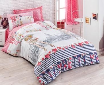Подростковое постельное бельё ТМ Eponj Home ранфорс Pretty Pembe
