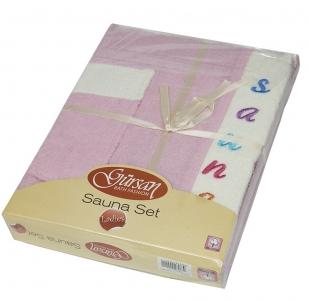 Набор ТМ Gursan для сауны женский 3-х предметный розовый