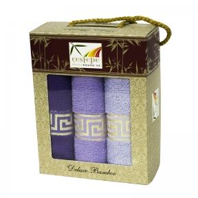 Набор кухонных полотенец из 3 штук Cestepe Bamboo violet greek 30х50