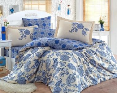 Постельное белье ТМ Hobby Exclusive Sateen Antonia синий евро-размер