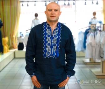Вышиванка мужская темносиняя с синей вышивкой 2004.1