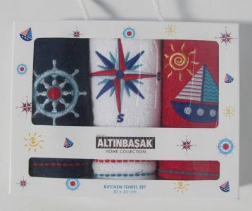 Набор полотенец кухонных с вышивкой ТМ Altinbasak 3 шт Marine 30x50