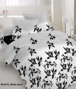 Постельное белье ТМ Nostra ранфорс 20-0313 White Black полуторное