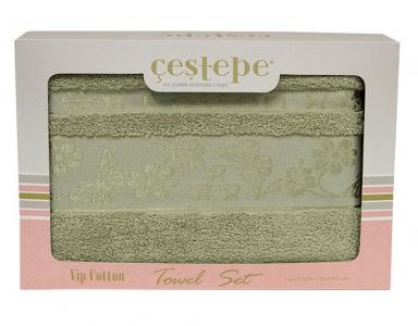 Набор полотенец из 2 штук ТМ Cestepe VIP Cotton зеленый