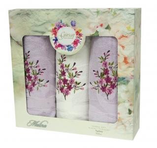 Набор полотенец из хлопка ТМ Gursan 3 шт Cotton Malina Violet
