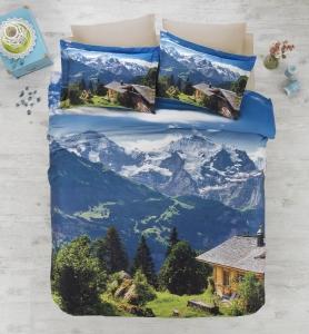 Постельное бельё ТМ Cotton Box 3D Living Earth сатин Alpin евро-размер