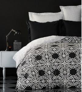 Постельное белье ТМ Karaca Home сатин Creantes siyah евро-размер