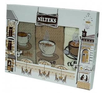 Набор полотенец кухонных ТМ Nilteks Coffee Time 1 3шт 50х70см