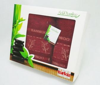Набор полотенец Turkiz Bamboo бордовое