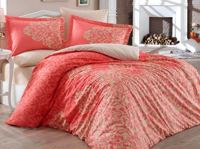 Постельное белье ТМ Hobby Poplin Serenity красное евро-размер