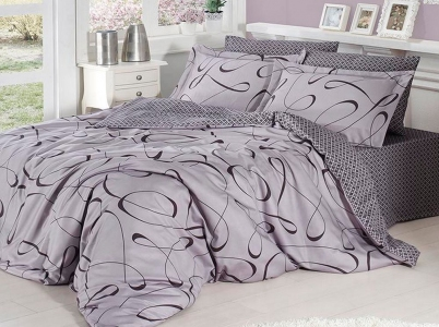 Постельное белье ТМ First Choice сатин-люкс Calisto gri евро-размер