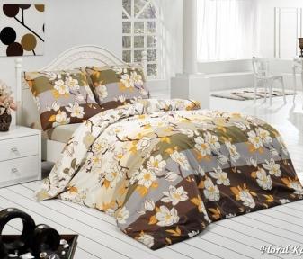 Постельное бельё ТМ First Choice бязь Floral Kahve евро-размер