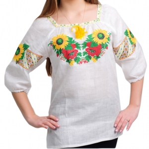 Вышиванка женская Подсолнухи 1004 белая