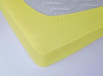 Простынь на резинке махровая ТМ Lotus желтая