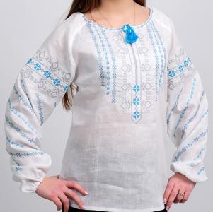 Вышиванка женская Геометрия голубая с серым 1008.1