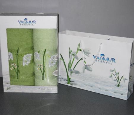 Набор полотенец из хлопка ТМ Yagmur Подснежник зелёный