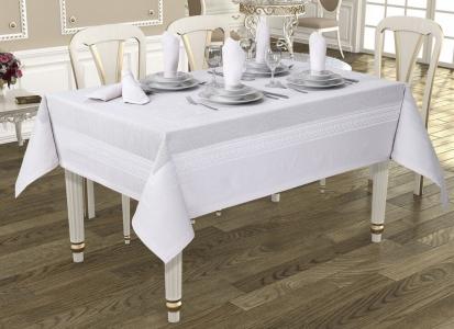 Скатерть ТМ Jackline Pano Linen White 9886-8 160х220