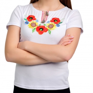 Вышитая футболка мак и подсолнухи белая