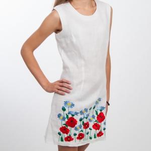 Вышитое платье белое 0000