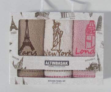 Набор полотенец кухонных с вышивкой ТМ Altinbasak 3 шт City 30x50