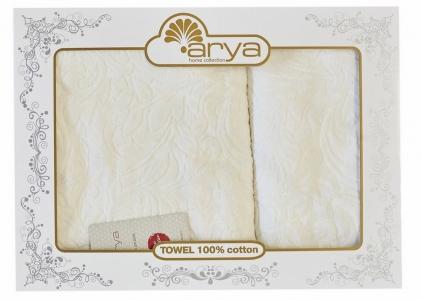 Набор махровых полотенец из 2 шт ТМ Arya жаккард бархат Zoey кремовый
