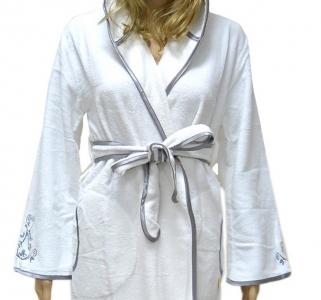 Халат велюровый ТМ Nusa белый женский (NS 00615) S размер