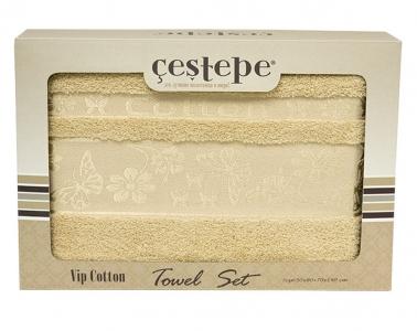Набор полотенец из 2 штук ТМ Cestepe VIP Cotton светло-бежевый