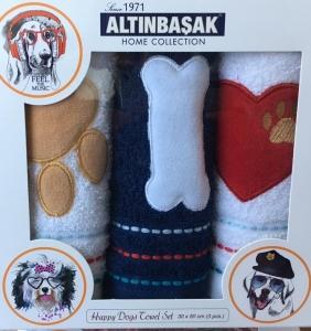 Набор полотенец кухонных с вышивкой ТМ Altinbasak 3 шт Pati Kemik Kalp 30x50