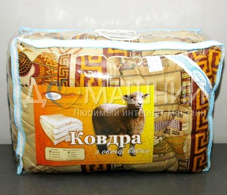 Одеяло стандарт ТМ Leleka-Textile Шерстяное коричневого цвета