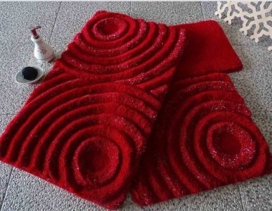 Коврик прорезиненный для ванной ТМ Chilai Home Wave red 60х100