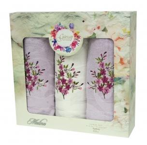 Набор махровых полотенец из 3 штук ТМ Gursan violet