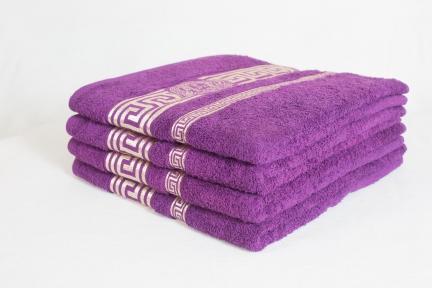 Махровые полотенца люкс с золотым бордюром ОПТ Узбекистан 480г/м2 фиолетовый 70х140см